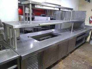 Stainless Steel Prep Table with Food Cooler  Steamers  Food Warmers  and Sink
