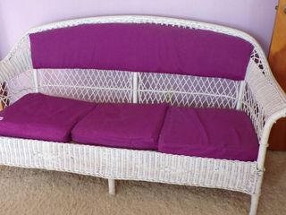 WICKER SOFA W CUSHIONS