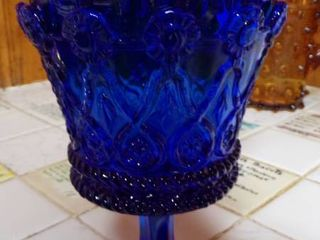 COBAlT BlUE COVERED CANDY DISH ON STEM