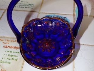 BEAUTIFUl BlUE BASKET W RUBY COlORED GlASS BEADS ETC