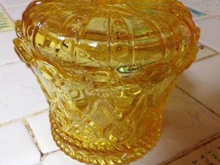 YEllOW COVERED CANDY DISH
