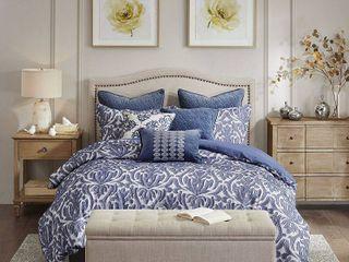 Blue Cotton Comforter Set Queen   Retail 387 49