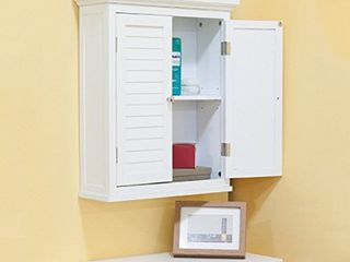 White Finish Cabinet with Shutter Doors