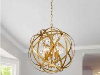 Gold 4 light Metal Globe Crystal Chandelier
