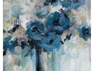 Midnight Splash Blue Flower Bouquet Canvas Art