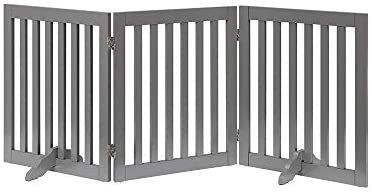 unipaws Freestanding Wooden Dog Gate  Foldable Pet Gate with 2Pcs Support Feet Dog Barrier Indoor Pet Gate Panels for Stairs  Gray  3 Panels  20 inches Wide  36 inches High