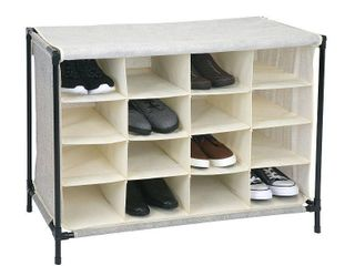 Simplify 16 Compartment Shoe Cubby Organizer with Cover   Natural  14x33x24