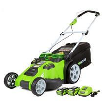 GreenWorks 25302 Twin Force G MAX 40V li Ion 20 Inch Cordless lawn Mower with 2 Batteries and a Charger Inc  possibly used