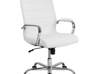 Flash Furniture High Back Office Chair   White leatherSoft Office Chair with Wheels and Arms  dirty
