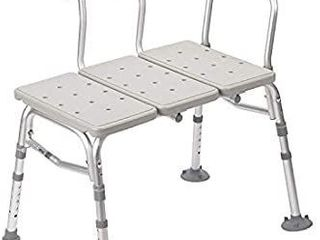 Drive Medical Plastic Tub Transfer Bench with Adjustable Backrest  Color May Vary