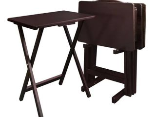 Casual Home 4 Piece Tray Table Set   NO STORAGE RACK ACTUAl COlOR IS NATURAl