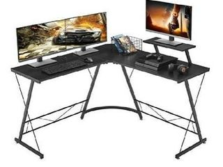 Mr IRONSTONE l Shaped Desk 50 8  Computer Corner Desk  Home Gaming Desk  Office Writing Workstation with large Monitor Stand  Space Saving  Easy to Assemble  Black