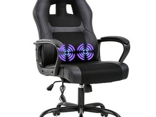 PC Gaming Chair Massage Office Chair Ergonomic Desk Chair Adjustable PU leather Racing Chair with lumbar Support Headrest Armrest Task Rolling Swivel Computer Chair for Women Adults Black