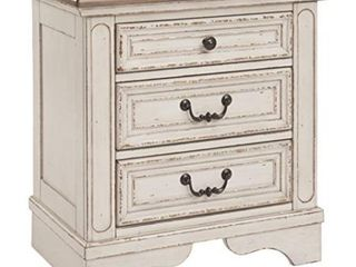 Realyn Three Drawer Nightstand Chipped White   Signature Design by Ashley small amount of damage on corners