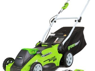 used Greenworks G Max Cordless 40 Volt 16  lawn Mower