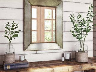Glenan Rustic Aged Metal Wall Mirror