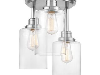 Globe Electric Annecy 3 light Brushed Steel Semi Flush Mount Ceiling light with Clear Glass Shades  61418  Retail 82 06