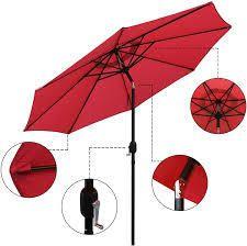 abble 9 ft solar umbrella red