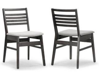 Set of 2 Audrey Black Wood Chair with Fabric Seat and ladder Back  Retail 134 99
