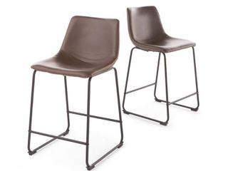 Cedric 24 inch Faux leather Counter Stool by Christopher Knight Home  Set of 2    Retail 183 00