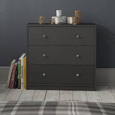Porch   Den Zoe 3 drawer Engineer Wood Chest grey
