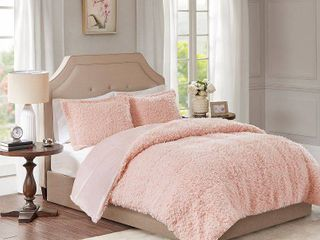 Madison Park Zoe 100 percent Polyester Solid Faux Fur Comforter Set