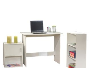 Soho 3 Piece Office Collection with Desk  Bookcase and Storage Cube  White Finish