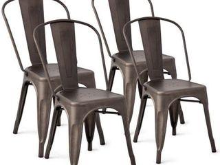 Merax 4 Piece Metal chairs only dark brown