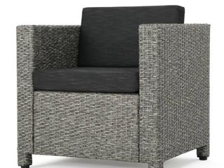 Puerta Outdoor Wicker Club Chair with Cushions by Christopher Knight Home  Retail 227 99 mixed black and dark grey