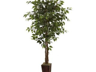 6 foot Ficus Tree and Bamboo Planter  Retail 95 49