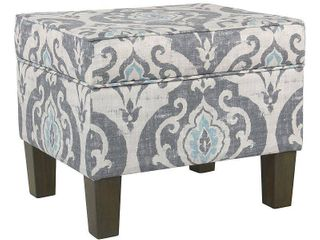 HomePop Suri Blue Slate Storage Ottoman  Retail 124 49