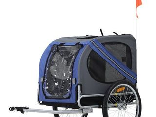 Aosom Elite Pet Dog Bike Trailer With Type  A  Hitch  leash Hook  Safety Flag   Blue   Grey  Retail 154 49