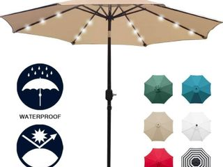9ft Solar Umbrella with lED Patio lights with 8 Rods   Tilt Adjustment and Crank lift System  light Tan