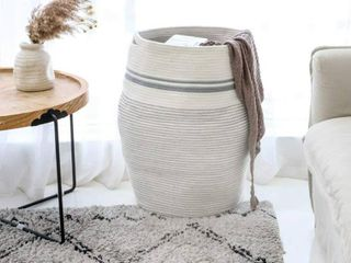 large laundry Basket  Foldable Woven Storage Basket  Cotton Rope Basket  laundry Basket for living Room  Bedroom  Bathroom  Modern Curved Storage Bucket  25 6 Inch Height