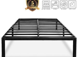 HAAGEEP Heavy Duty Full Bed Frame No Box Spring Needed 14 Inch Black Metal Platform Beds Frames