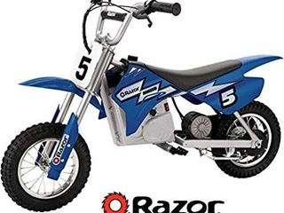 Razor MX350 Dirt Rocket Electric Motocross Off Road Bike Ages 13  Up to 30 Minutes Continuous Riding Time  12 Inch Air Filled Tires  Hand Operated Rear Brake  Twist Grip Throttle  Chain Driven Motor