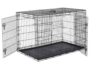 AmazonBasics Double Door Folding Metal Dog Crate  48 in