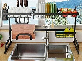 Over Sink Dish Drying Rack  33   Black with Utensil Holder  Stainless Steel  Sink Sizea33in  Black