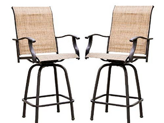 Patio Festival Metal Sling Outdoor Bistro Chairs  Brown   Set of 2