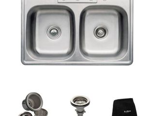 Kraus 33 inch Topmount 50 50 Double Bowl 18 gauge Stainless Steel Kitchen Sink