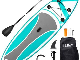 TUSY Inflatable Paddle Boards Inflatable Paddleboards Stand up with SUP Paddle Board Accessories and Carry Bags  Non Slip Deck  Paddles  leash and Fin for Surf Standing Boat for Youth   Adult  10FT