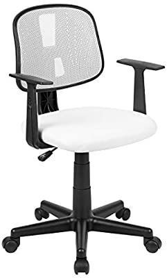 Flash Fundamentals Mid Back White Mesh Swivel Task Office Chair with Pivot Back and Arms