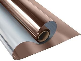 KESPEN One Way Window Film Privacy Anti UV Heat Control Reflective Glass Tint for Home Static Cling Vinyl  Brown Silver  35 4 Inch X 16 4 Feet  NOT A FUll ROll