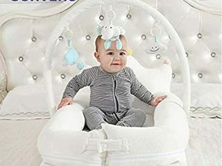 SUNVENO Portable Baby Bed Newborn Co Sleeping lounger  Soft Cotton Baby Bed Breathable for 0 12 Months Newborn Babies  White