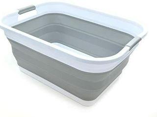 SAMMART Collapsible Plastic laundry Basket   Foldable Pop Up Storage Container Organizer   Portable Washing Tub   Space Saving Hamper Basket  Rectangular  Grey