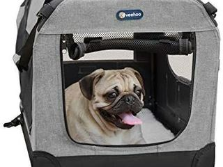 Veehoo Folding Soft Dog Crate  3 Door Pet Kennel for Crate Training Dogs  5 x Heavy Weight Mesh Screen  600D   1200D Oxford Fabric  Indoor   Outdoor Use  Multiple Sizes   Colors Available   ACTUAl COlOR DIFFERS FROM STOCK PHOTO