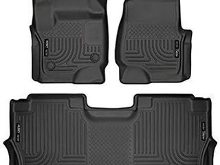 Husky liners Fits 2017 20 Ford F 250 F 350 Crew Cab   with factory storage box Weatherbeater Front   2nd Seat Floor Mats