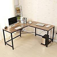 Soges 59 x 59 inches large l Shaped Desk Computer Desk l Desk Office Desk Workstation Desk  Oak CS ZJ02 OK