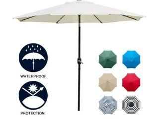 Sunnyglade 9  Patio Umbrella Outdoor Table Umbrella with 8 Sturdy Ribs