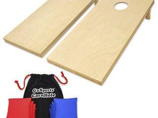 GoSports Regulation Size Wooden CornHole Set Includes 8 Premium Bags  Wood Natural